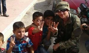 Joe Robinson with children in Kobani, Syria.