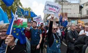 Campaigners for a second EU referendum take part in a march in London in October.