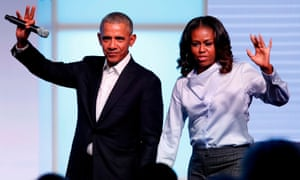 Barack and Michelle Obama the Obama Foundation Summit in Chicago in 2017.