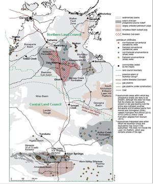 Beetaloo gas map. Northern Gas Pipeline construction underway near Tennant Creek.