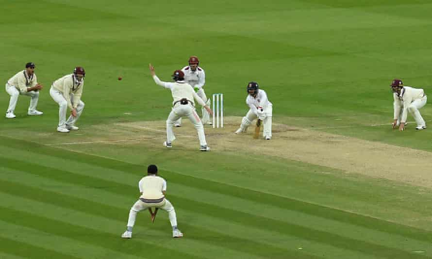Somerset battle for the wicket of Essex's Ryan Ten Doeschate during the Bob Willis Trophy final at Lord's last September