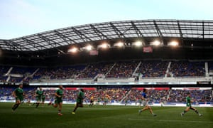 London Irish take on Saracens at the Red Bull Arena in New Jersey in March 2016.