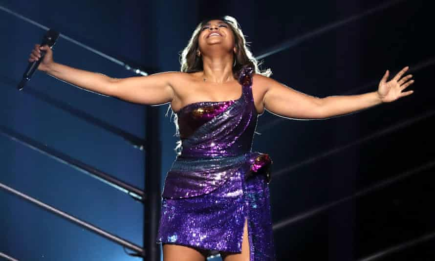 Jessica Mauboy on the Eurovision stage