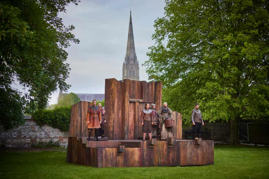 The first in-situ performance, at Salisbury Cathedral, is a final dress rehearsal. The company play here for two nights at the beginning of the tour. Most of the rest of the tour dates are one night only.