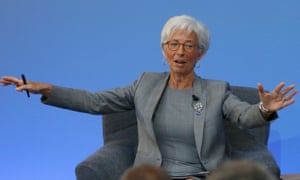Christine Lagarde of the IMF gestures during a panel discussion at the international anti-corruption summit