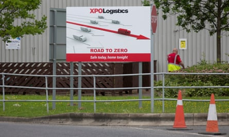 The Road to Zero sign outside an Asos warehouse near Barnsley in Yorkshire.
