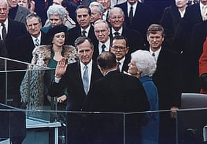 Bush takes the oath of office as the 41st president of the United States on 20 January 1989.