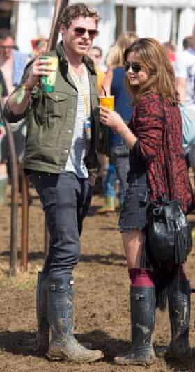 Actors Richard Madden and Jenna Coleman at Glastonbury festival 2014