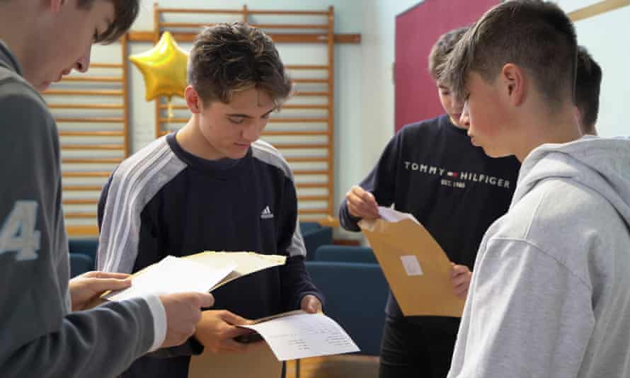 Pupils receiving GCSE results in August 2021.
