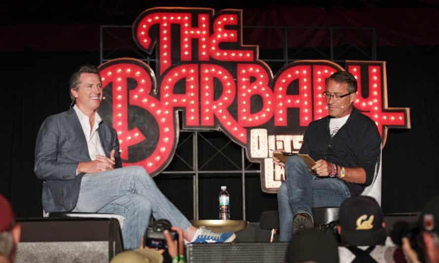 Gavin Newsom, left, California's lieutenant governor, and John Battelle held a discussion on Saturday at Outside Lands.