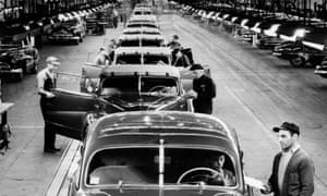 An assembly line in Detroit in the dynamic 1950s