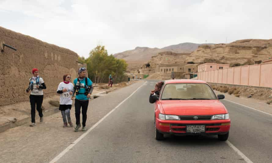 Zainab and her two running partners drew attention as they ran the Bamiyan marathon.