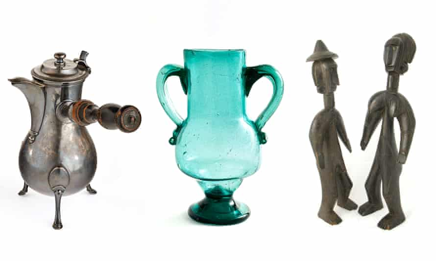 'Matisse loved stuff' (l-r): the artist's silver chocolate pot, which he painted repeatedly over 40 years; the Andalucian glass vase that features in several of his paintings; and Jomooniw figures, Bamana region, Mali, once owned by Matisse.