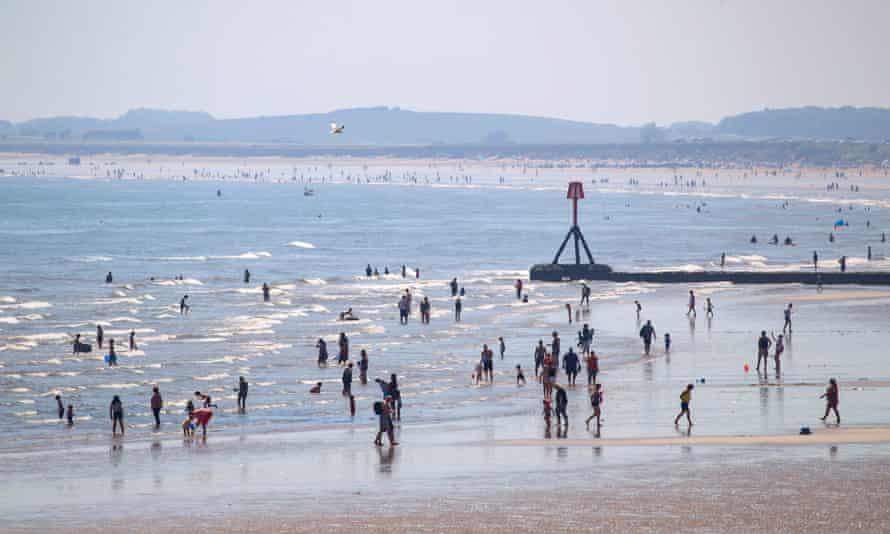 Bridlington beach during a heatwave. UK.