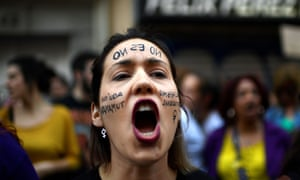 A woman protests in Madrid