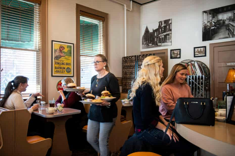 Customers enjoy lunch at Little Village Cafe on 4th Ave. in downtown Baraboo, Wis. Jan. 3, 2019. The 12,000 person town has become the focus of international attention for a photo of high school boys making what appears to be a Nazi salute after the image went viral. The community has held town meetings to address the issue.