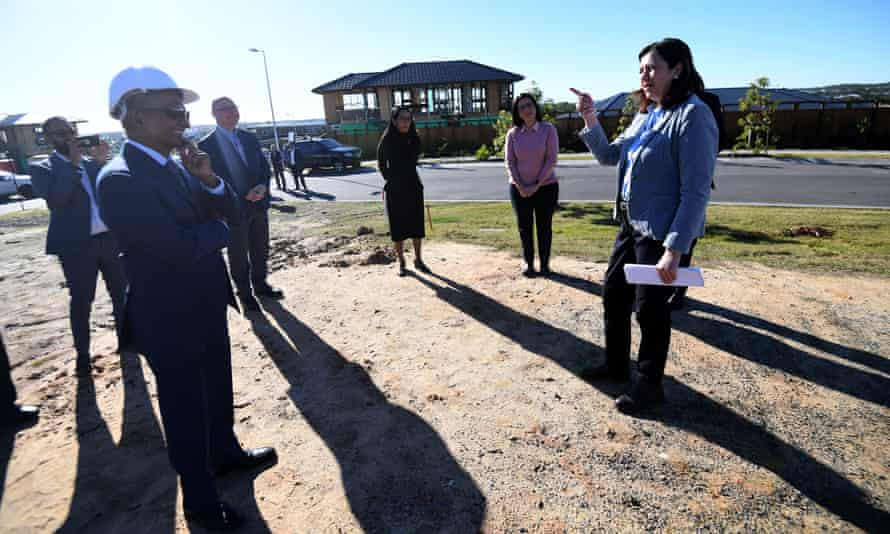 Queensland Premier Annastacia Palaszczuk at a Spring Mountain construction site in Brisbane last Monday.