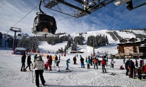 Skiers at the French Alps resort of Courchevel