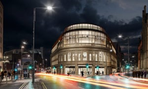 An artist's impression of the development of The Majestic in Leeds which will be the new home of Channel 4.
