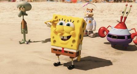 The 2015 SpongeBob film with, from left, Squidward, SpongeBob, Sandy and Mr Krabs.