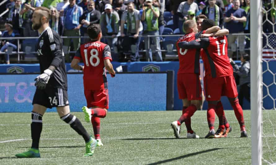Jozy Altidore celebrates after scoring the game's only goal on Saturday. Altidore was a handful throughout.