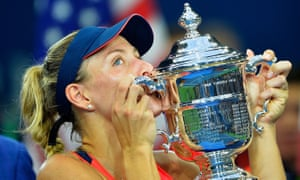 Angelique Kerber kisses the trophy after winning 6-3, 4-6, 6-4 against Karolina Pliskova .
