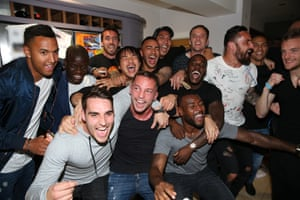 The Leicester City players celebrate the title triumph at the home of Jamie Vardy.