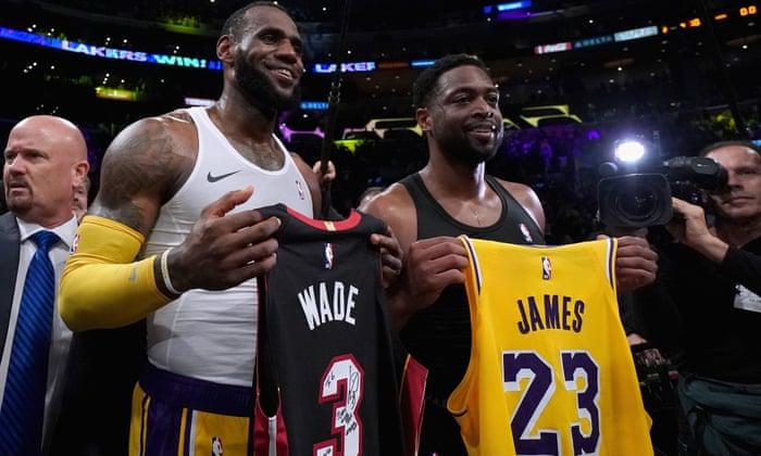5ce93d29063 LeBron James edges Dwyane Wade in star pair's final NBA meeting   Sport    The Guardian