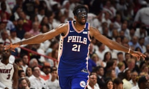 Miami, USAPhiladelphia 76ers centre Joel Embiid reacts after making a three point basket during the second half against the Miami Heat in the 2018 NBA Playoffs. Embiid had endured a lay off due to injuries suffered when he collided with teammate Markelle Fultz during a game. He suffered concussion and multiple fractures of the orbital bone.
