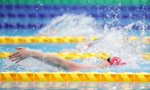 Hannah Russell of Great Britain on her way to winning the women's 100m backstroke - S12 final.