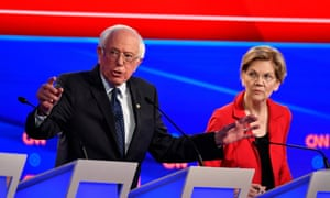 Bernie Sanders and Elizabeth Warren take part in the Democratic party presidential debate in, Detroit, where Warren pledged not to use nuclear weapons first.