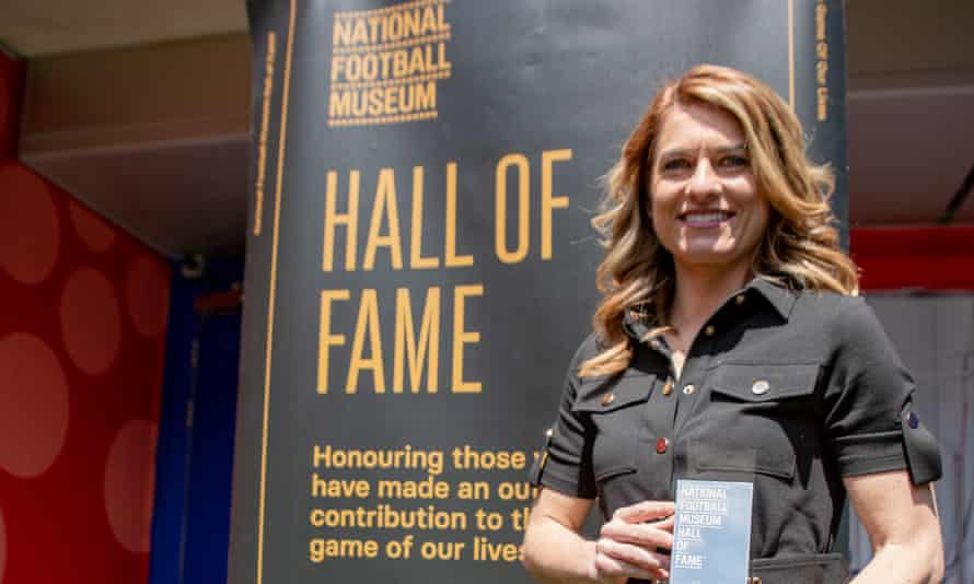 Karen Carney being inducted into the National Football Museum Hall of Fame.