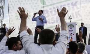 The leader of the pro-Kurdish Peoples' Democratic party (HDP), Selahattin Demirtas, speaks during an election rally in Istanbul.