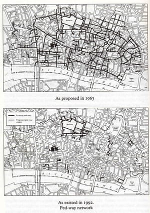 Part of the Holden/Halford plan for reconstructing the City, the Pedway was abandoned in the 1980s. From London: City of London v. 1 (Pevsner Architectural Guides: Buildings of England) by N Pevsner (1 Jan 1997).