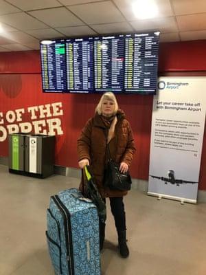 Flybe passenger Carole Lewis at Birmingham Airport
