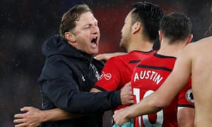 Southampton manager Ralph Hasenhuttl celebrates with Maya Yoshida at the end of the match