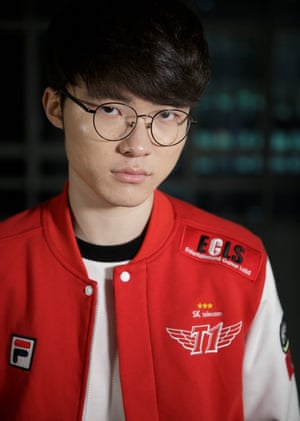 Faker the top Korean eSports League of Legends player of the SK Telecom team.