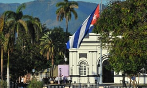 A view from a distance of the burial ceremony at the Santa Ifigenia cemetery in Santiago de Cuba.