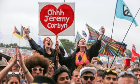 Festival-goers cheer for Jeremy Corbyn at Glastonbury, 2017