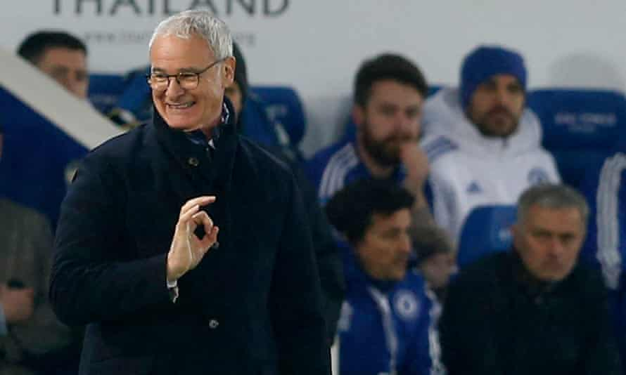 Claudio Ranieri enjoys a humorous moment during Leicester's Premier League victory over Chelsea as José Mourinho watches on furiously.