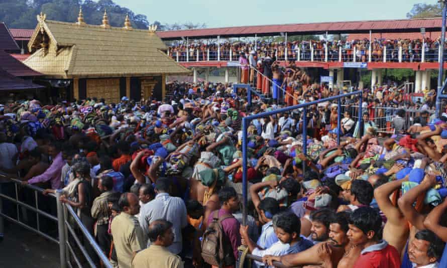Hindu worshippers queues outside the Sabarimala temple in Kerala.