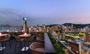 Wooloomooloo Steakhouse roof terrace in Hong Kong.