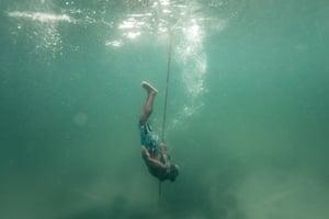 Laurens Yamlean diving for sea cucumber.