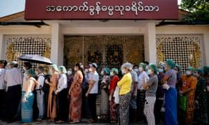 Waiting to vote in Yangon on 8 November