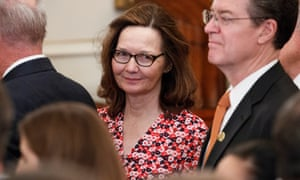 Gina Haspel attends the swearing-in ceremony for the secretary of state, Mike Pompeo.
