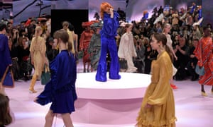 Alison Goldfrapp sings as models circle the catwalk at Mulberry's London fashion week show