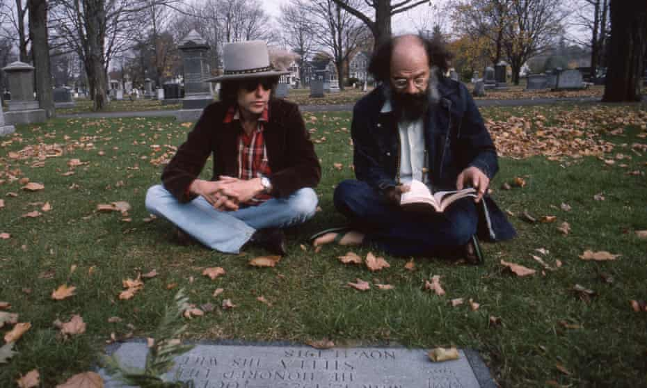 Bob Dylan and Allen Ginsberg at the grave of Jack Kerouac in Massachusetts.