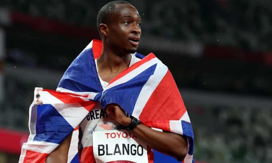 Columba Blango celebrates after winning bronze in the Tokyo Olympic Stadium