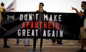 Demonstrators protest under coronavirus restrictions against Israeli Prime Minister Benjamin Netanyahu's plan to annex parts of the Israeli-occupied West Bank, in Tel Aviv, Israel 6 June 6 2020.