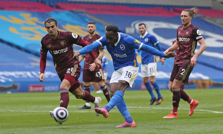 Danny Welbeck fires in Brighton's second goal to make sure of the points against Leeds